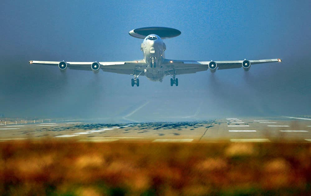 A Nato AWACS plane takes off the NATO Airbase in Geilenkirchen, Germany.
