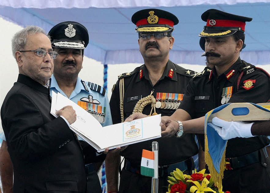 President Pranab Mukherjee and Chief of Air Staff, Air Chief Marshal Arup Raha during the presentation of President`s Standard to 112 HU & Colours to 4 BRD of Indian Air Force in Kanpur, Uttar Pradesh.