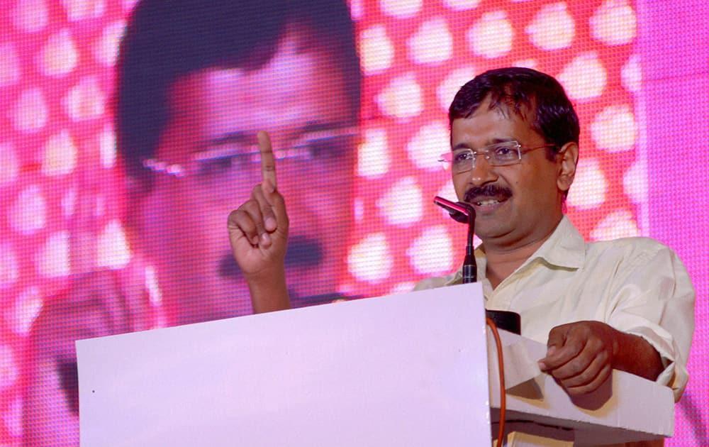 AAP leader Arvind Kejriwal addresses a programme in Jaipur.