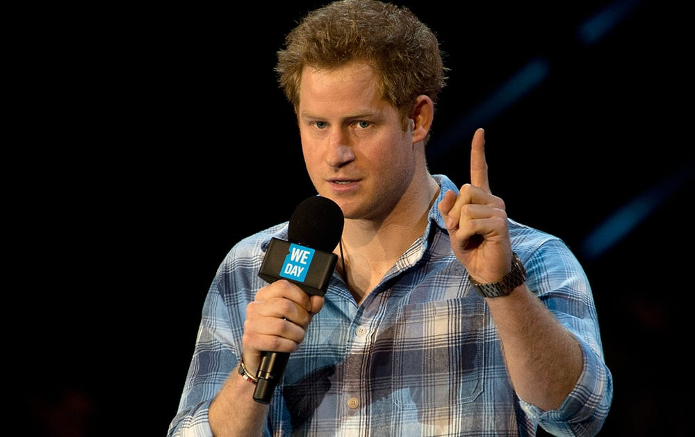 Britain`s Prince Harry gives a speech at the inaugural WE Day UK at Wembley Arena in London.