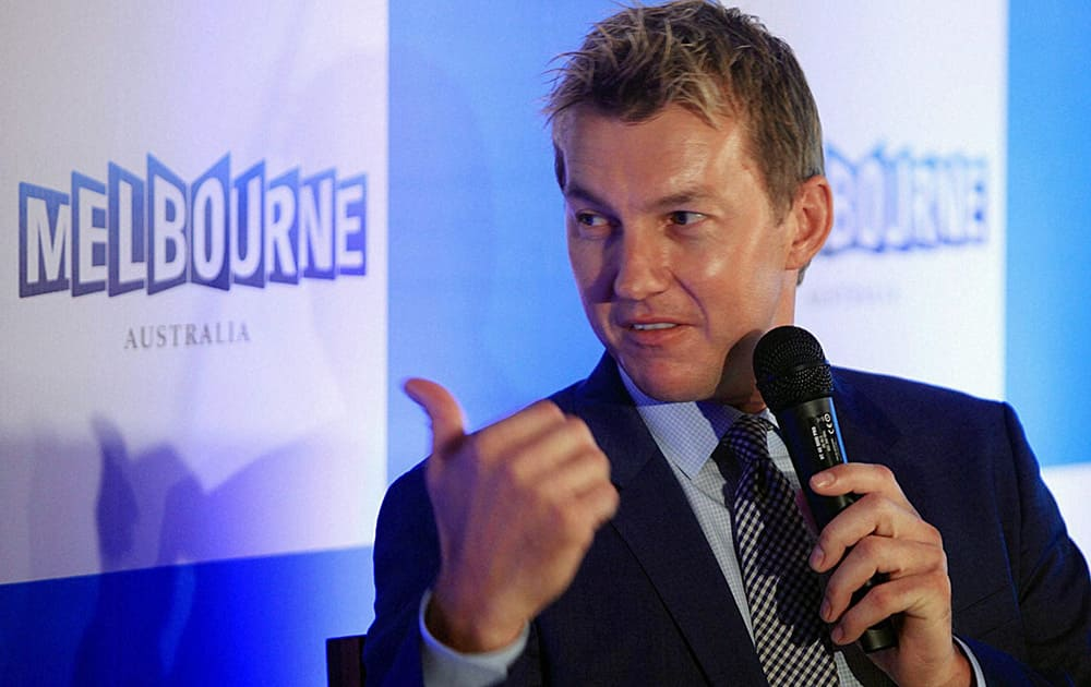Brett Lee during a press conference in Mumbai.