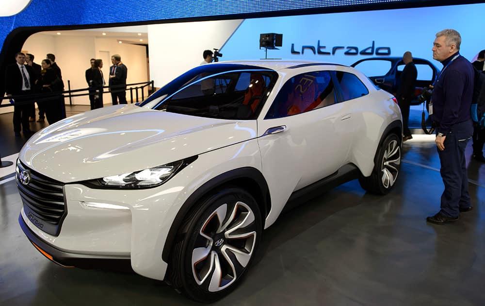 The new Hyundai Prototype Intrado is on display during the press day at the 84. Geneva International Motor Show in Geneva, Switzerland.