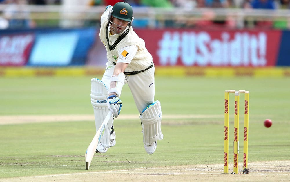 Australian captain Michael Clarke runs to make ground during day two of the 3rd Test between South Africa and Australia held at Newlands in Cape Town, South Africa.