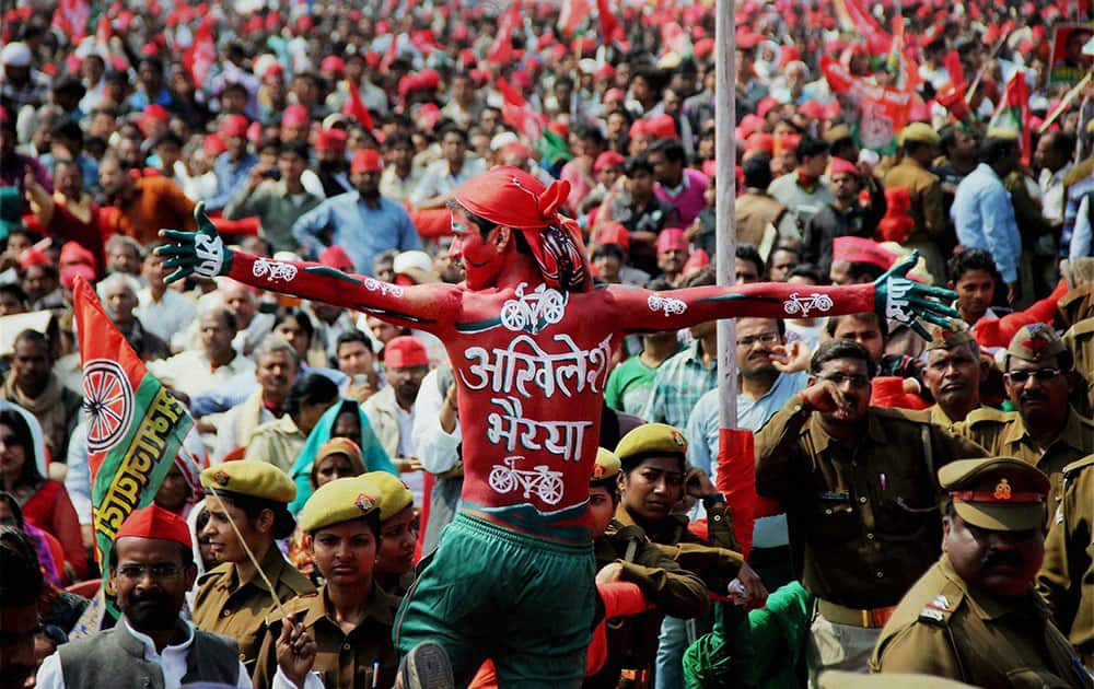 Samajwadi Party supporters during party`s public rally.