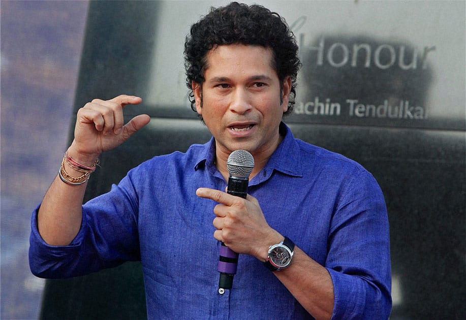 Sachin Tendulkar at the unveiling ceremony of the monument `Bat of Honour` in Mumbai.