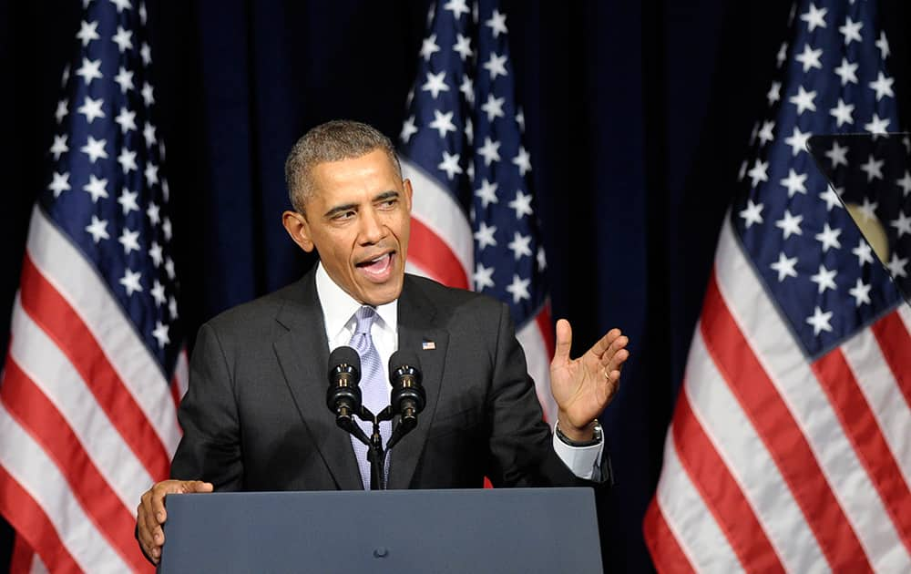 President Barack Obama speaks at the Democratic National Committee Winter Meeting in Washington.