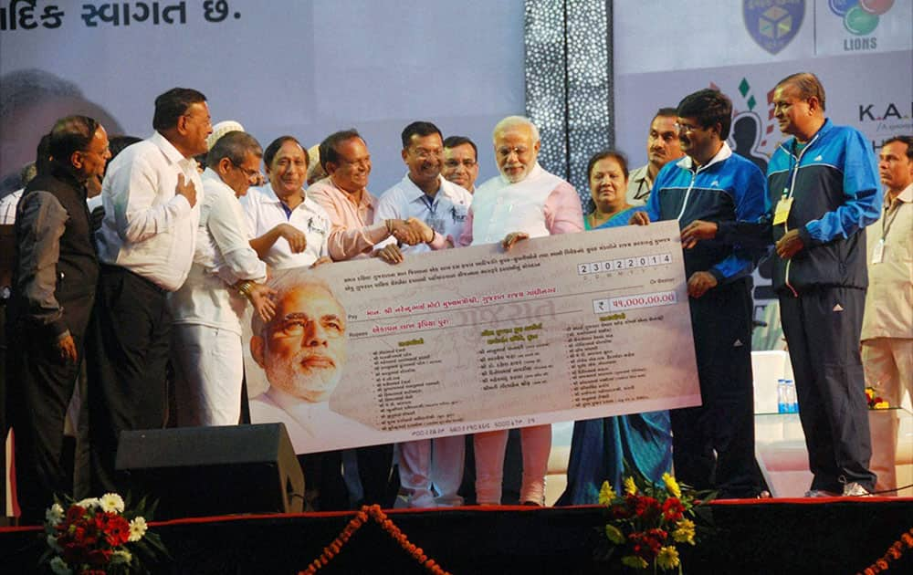 BJP Prime Ministerial candidate Narendra Modi during the inauguration of Marathon 2014 in Surat.