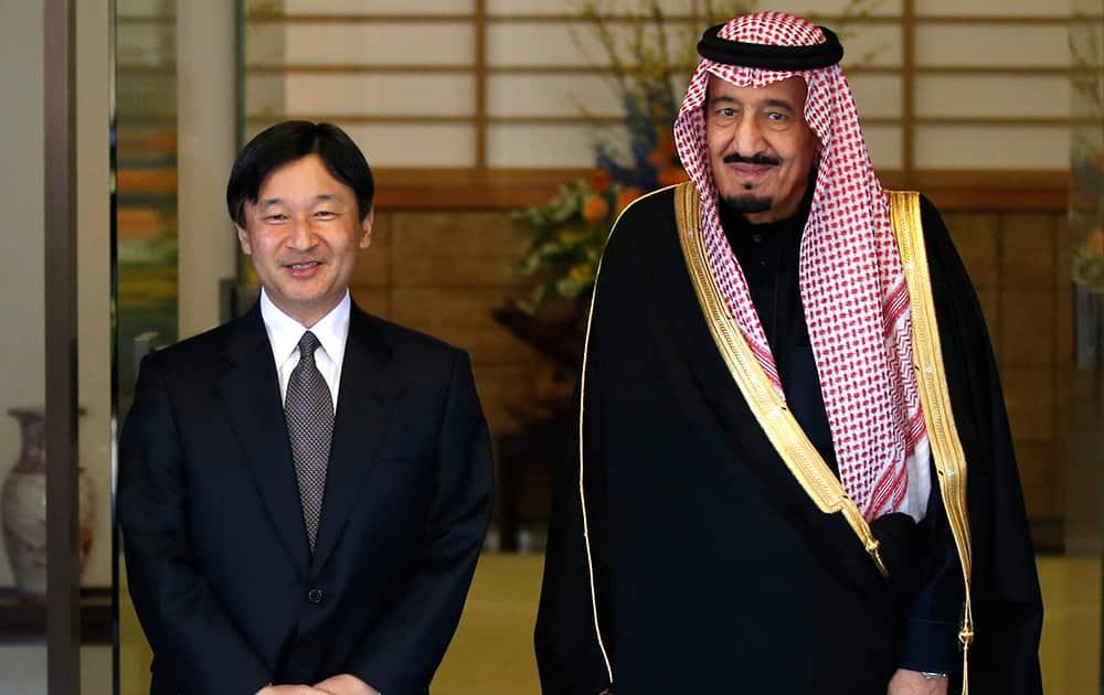 Saudi Arabia`s Crown Prince Salman bin Abdul Aziz al-Saud, right, and Japan`s Crown Prince Naruhito, left, stand togetherat the Togu Palace in Tokyo.