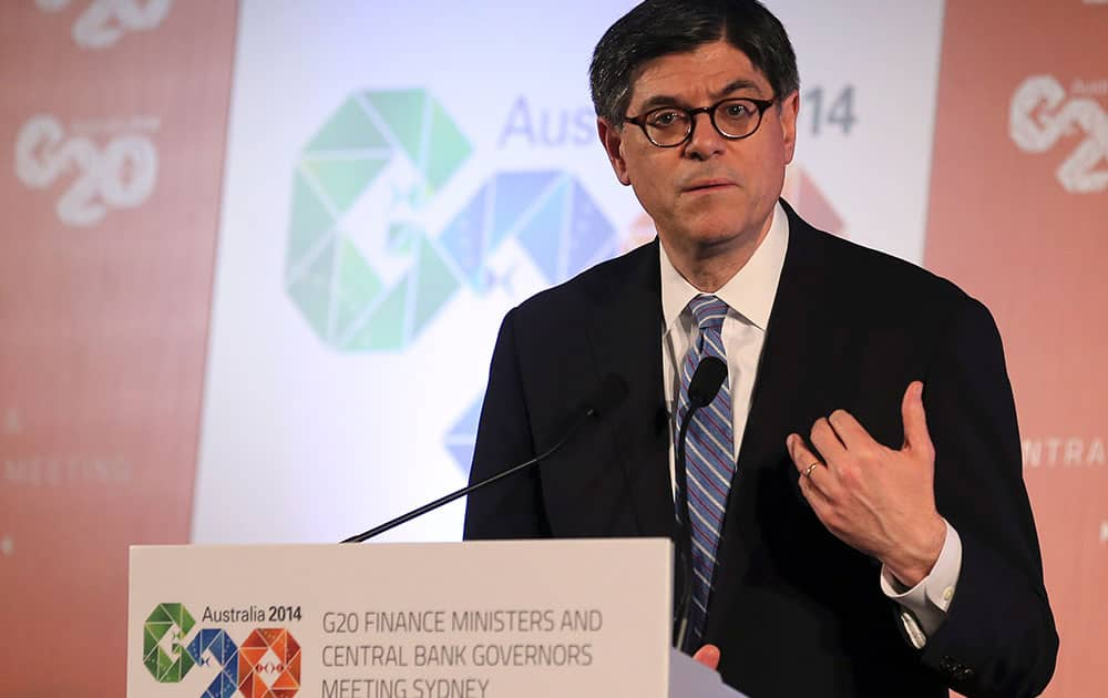 U.S. Secretary of the Treasury Jack Lew delivers a closing statement to the media during a press conference at the G-20 Finance Ministers and Central Bank Governors meeting in Sydney.