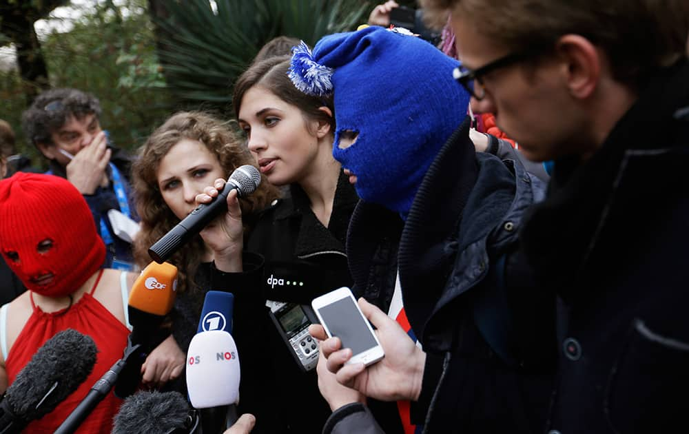 Pussy Riot member Nadezhda Tolokonnikova speaks during a press conference in Sochi, Russia.