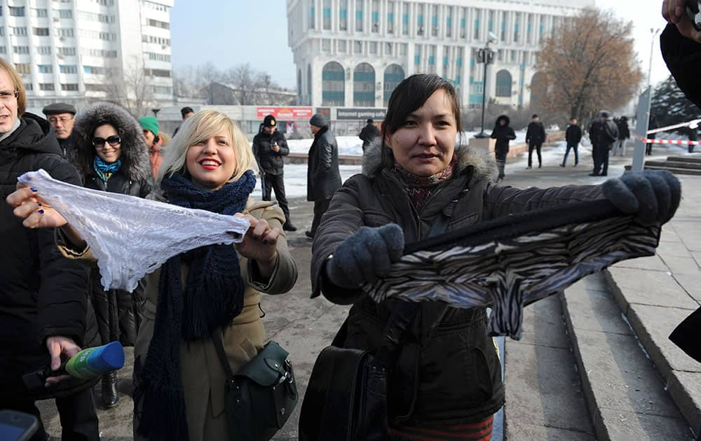 Women during a protest against the ban of lace underwear in Almaty, Kazakhstan. A trade ban on synthetic underwear has Russia and her economic allies with their knickers in a twist.