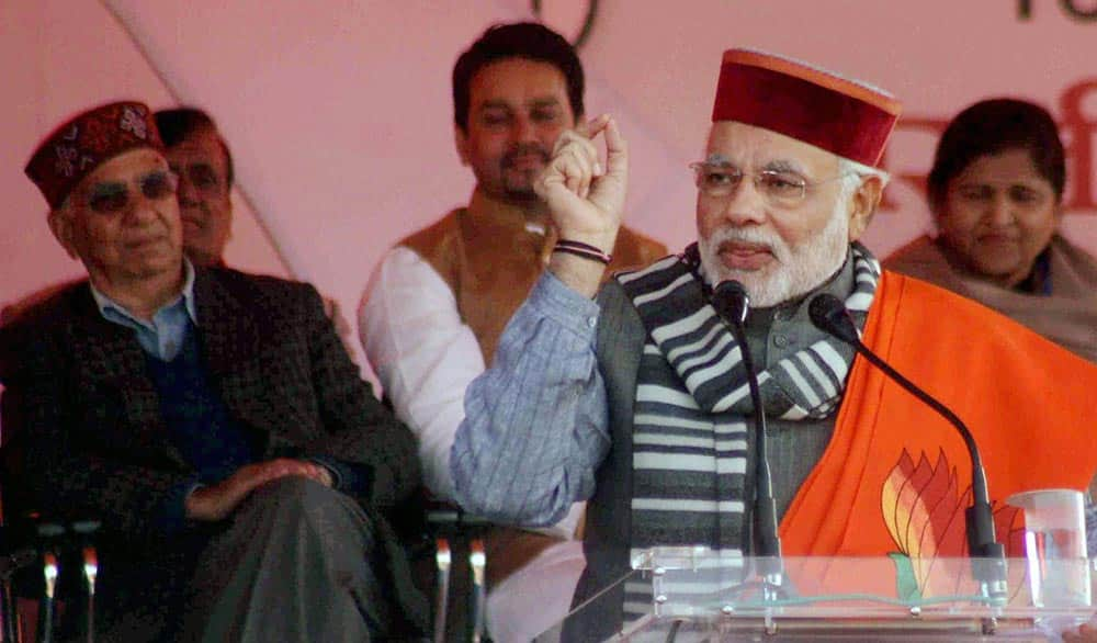 BJP Prime Ministerial Candidate Narendra Modi addresses at a rally in Sujanpur, Himachal Pradesh.