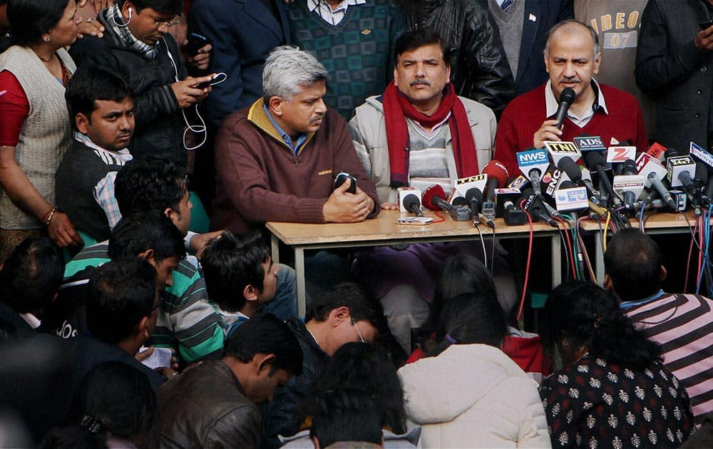 AAP leaders Manish Sisodia, Sanjay Singh and others addressing a press conference in New Delhi.