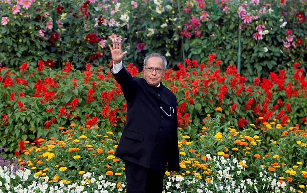 President Pranab Mukherjee at the Mughal Gardens during its opening for public, at Rashtrapati Bhavan in New Delhi.