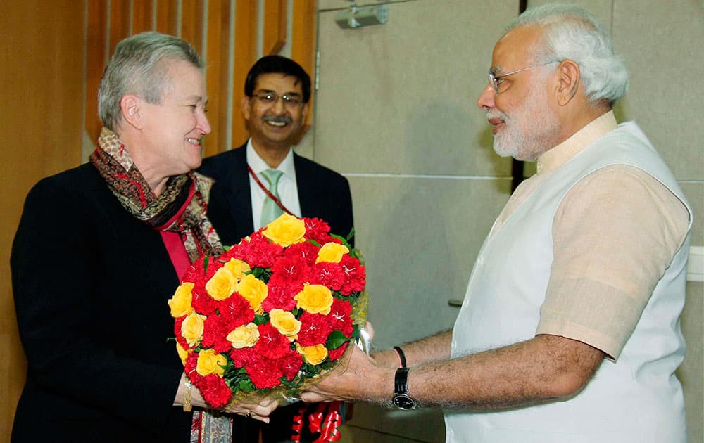 Gujarat Chief Minister Narendra Modi with US ambassador to India Nancy Powell during a meeting in Gandhinagar.