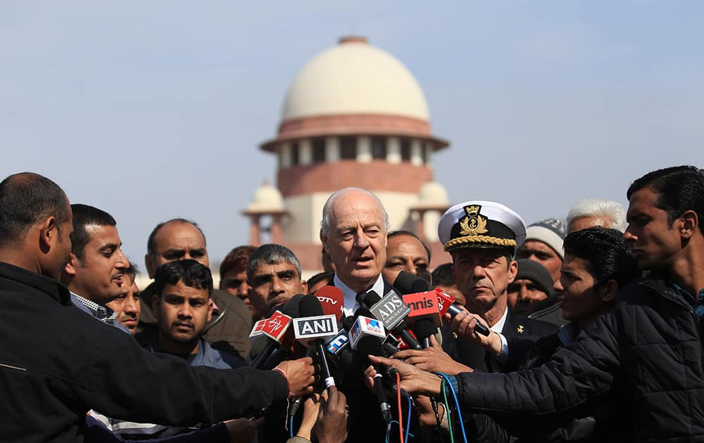 Italian government`s envoy Staffan de Mistura speaks to journalists after a court hearing at the Supreme Court, in New Delhi. India acceded to Italy's request and said Friday it won't invoke an anti-piracy law carrying the death penalty when it tries two Italian marines accused of killing two Indian fishermen in February 2012.