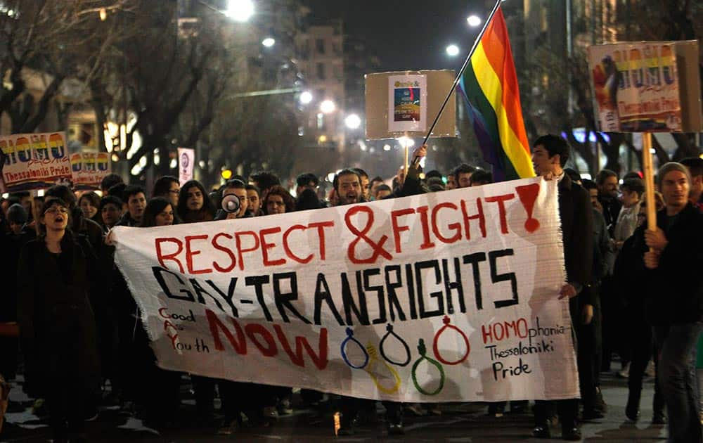 Several hundred gay rights activists march during a protest in the northern Greek port city of Thessaloniki, Greece.