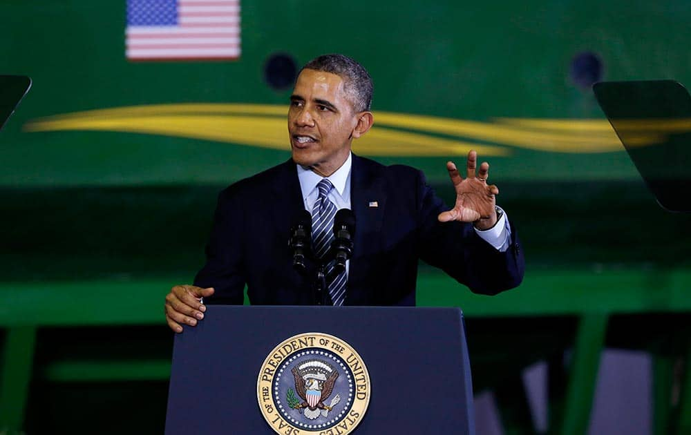 President Barack Obama speaks at Michigan State University in East Lansing, Mich., before signing the farm bill.