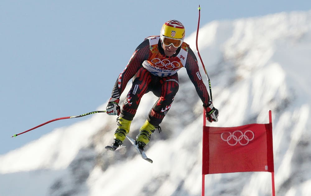 Croatia`s Ivica Kostelic makes a jump during a men`s downhill training run for the Sochi 2014 Winter Olympics in Krasnaya Polyana, Russia.