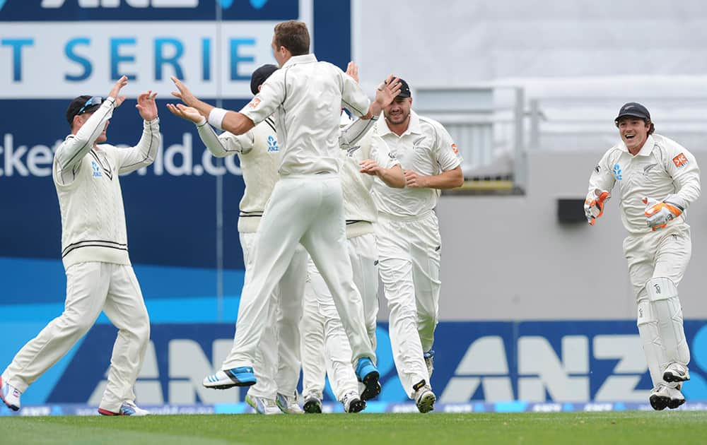 New Zealand's Tim Southee celebrates with his team mates after dismissing India's Virat Kohli for 4 on the second day of the first cricket test at Eden Park in Auckland, New Zealand.