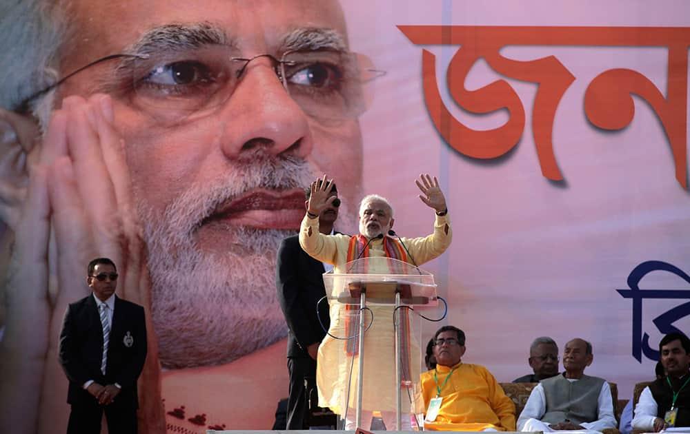 Narendra Modi addresses a public rally in Kolkata.