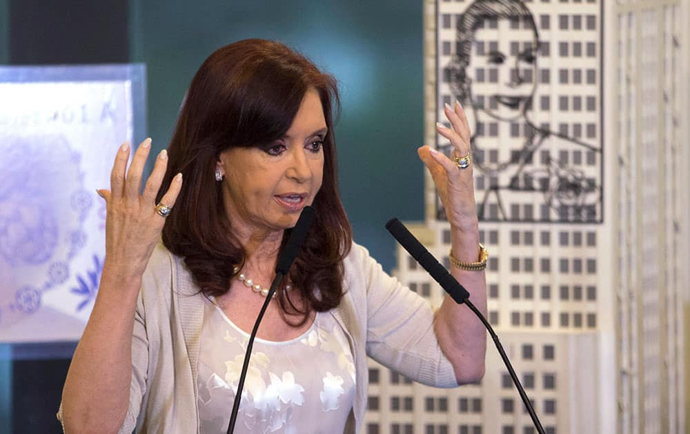 Argentina`s President Cristina Fernandez announces a rise in pensions at government palace in Buenos Aires, Argentina.
