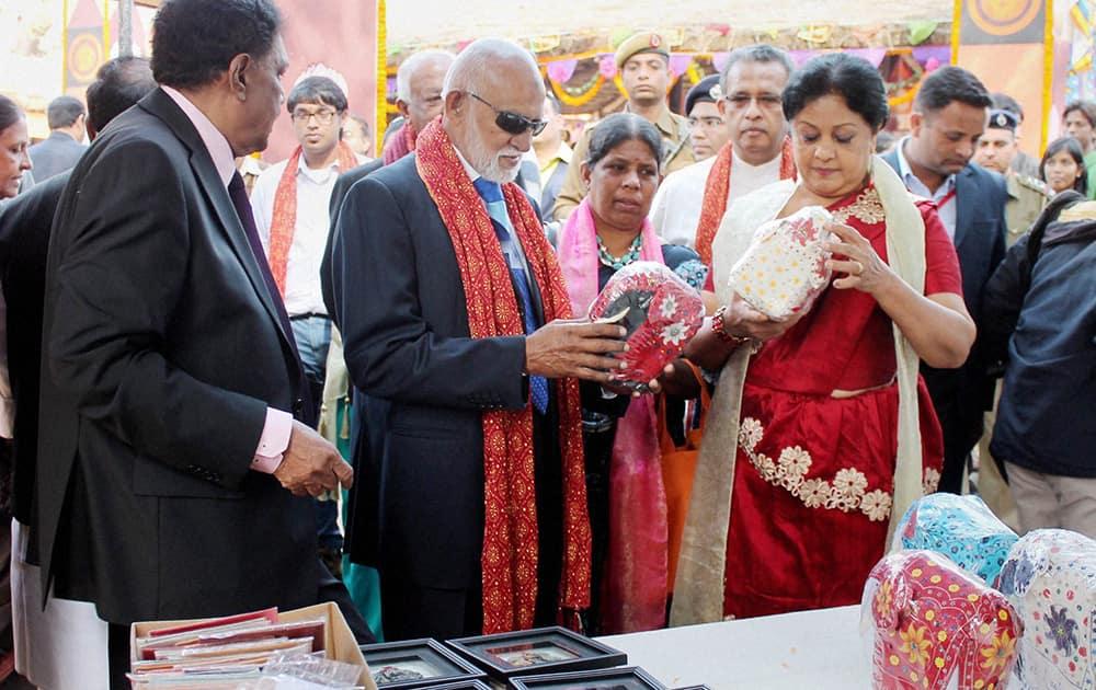 A. H. M. Fowzie, Senior Minister of Urban Affairs, Sri Lanka, at a stall during 28th Surajkund International Crafts Mela in Faridabad.