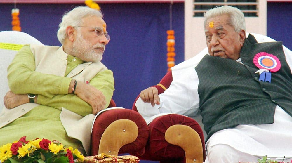 Gujarat Chief Minister and Prime Ministerial Candidate for BJP Narendra Modi, with Former Chief Minister Keshubhai Patel at a public meeting in Somnath.