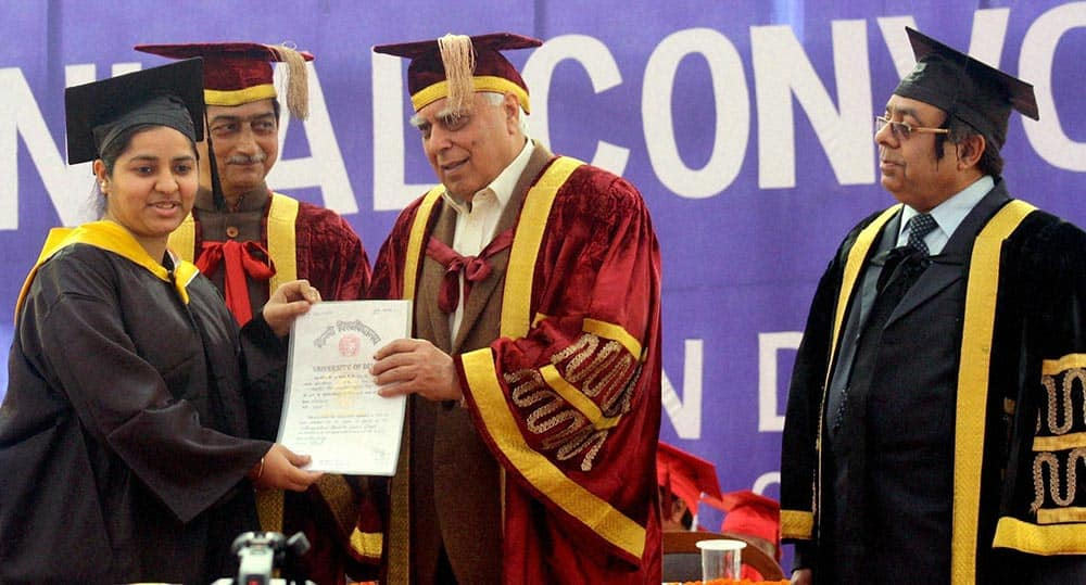Union Minister Kapil Sibal during the annual convocation of Zakir Hussain College in New Delhi.
