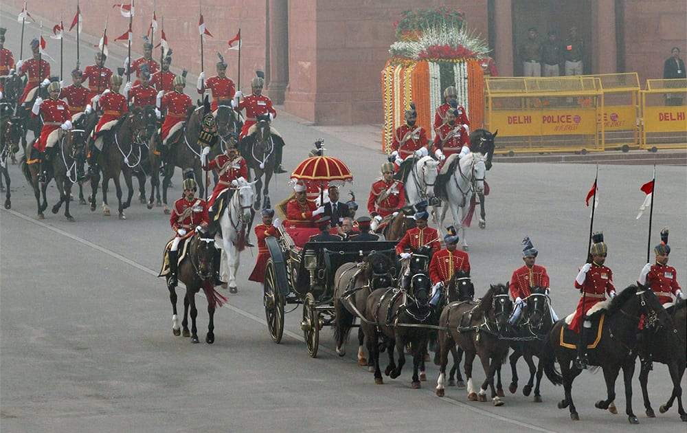 President Pranab Mukherjee arrives at the Beating Retreat ceremony in New Delhi.