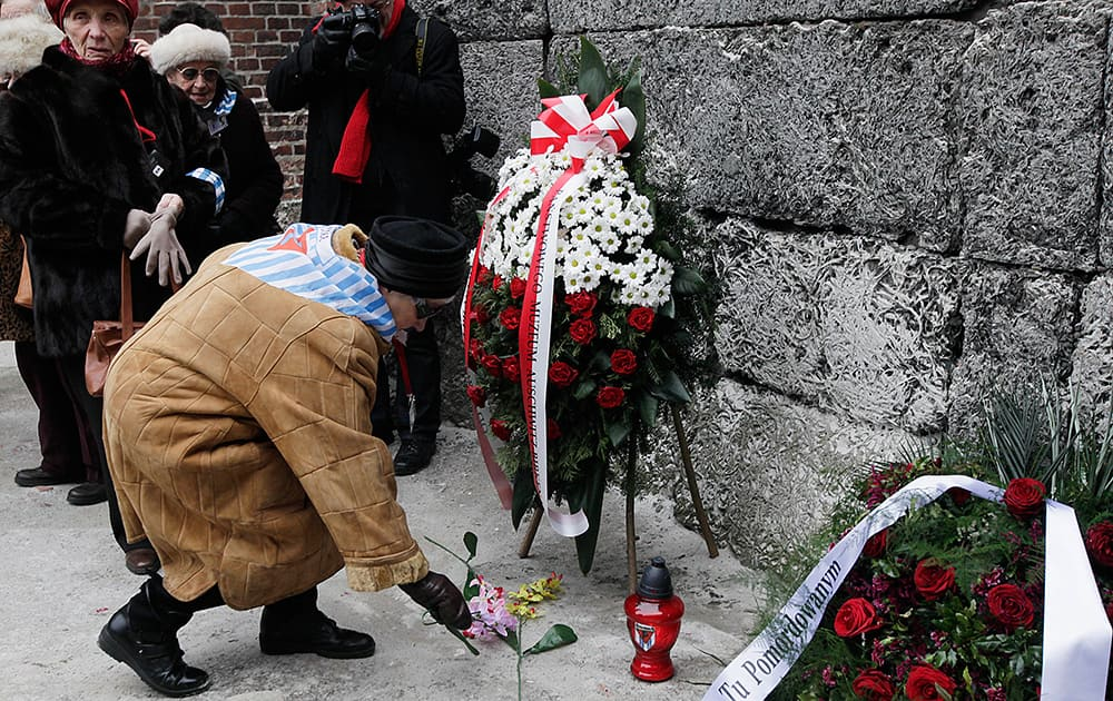 Auschwitz survivors lay a wreath and flowers at the former Nazi death camp`s Executions wall in Oswiecim, Poland to mark 69 years since the Soviet Red Army liberated the camp.