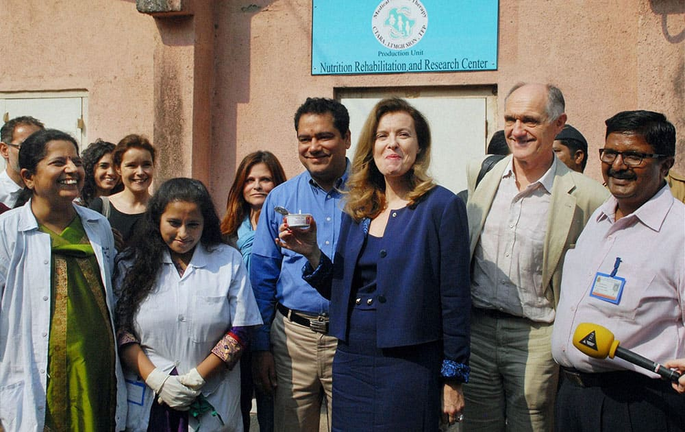 French ex-first lady Valerie Trierweiler during her visit to a hospital in Mumbai.
