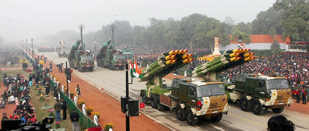 Multi Barrel Rocket Launcher on display during the 65th Republic Day parade in New Delhi.