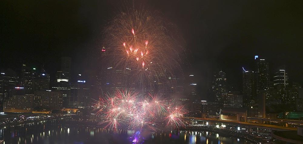 Fireworks explode over Darling Harbour during Australia Day celebrations in Sydney.