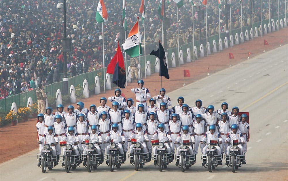 BSF daredevils perform at the 65th Republic Day parade in New Delhi.