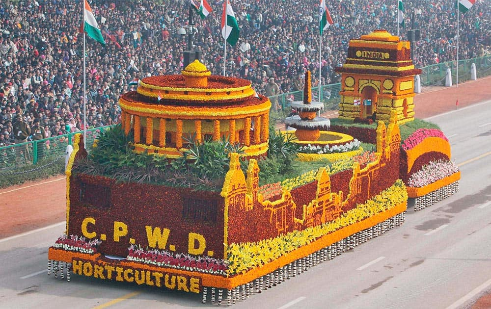 The tableau of CPWD on display at Rajpath in New Delhi.