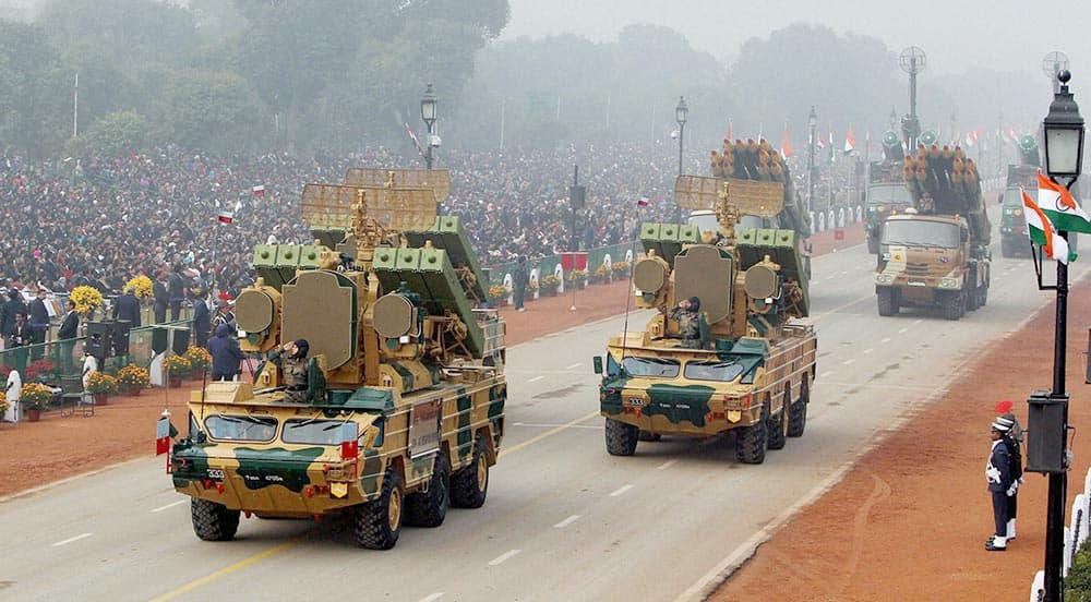 Mechanised columns of Indian army on display during the 65th Republic Day parade in New Delhi.