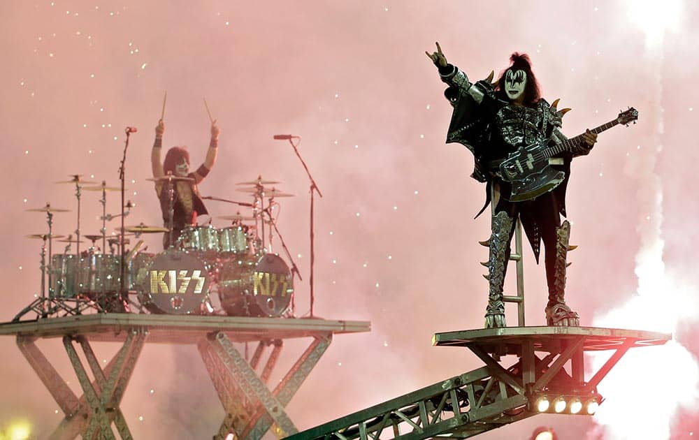KISS performs prior to the Los Angeles Kings game against the Anaheim Ducks in an NHL outdoor hockey game at Dodger Stadium in Los Angeles.