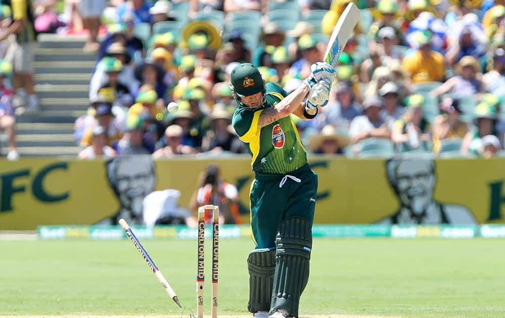Australia`s Michael Clarke is bowled by England`s Tim Bresnan during their one-day international cricket match in Adelaide, Australia.