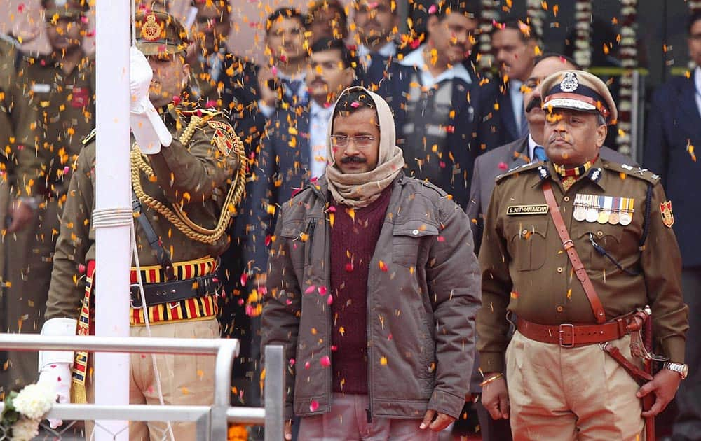 Delhi Chief Minister Arvind Kejriwal during the state level Republic Day function at Chhatrasal Stadium, in New Delhi.