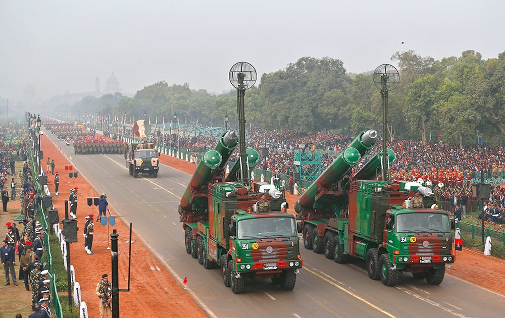 Brahmos supersonic missiles, jointly developed by India and Russia, are displayed during full dress rehearsals for the Republic Day parade in New Delhi.