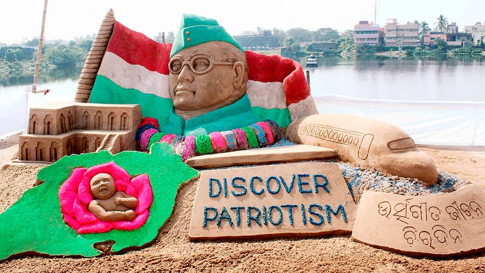 A SAND SCLUPTURE OF NETAJI SUBHASH CHANDRA BOSE CELEBRATE HIS BIRTH ANNIVERSARY IN CUTTACK.