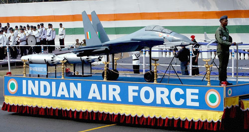 Indian Air Force display fighter aircraft model Sukhoi-30 and UB-16-57 UM Rocket Pod during full dress rehearsal of Republic day parade in Kolkata.