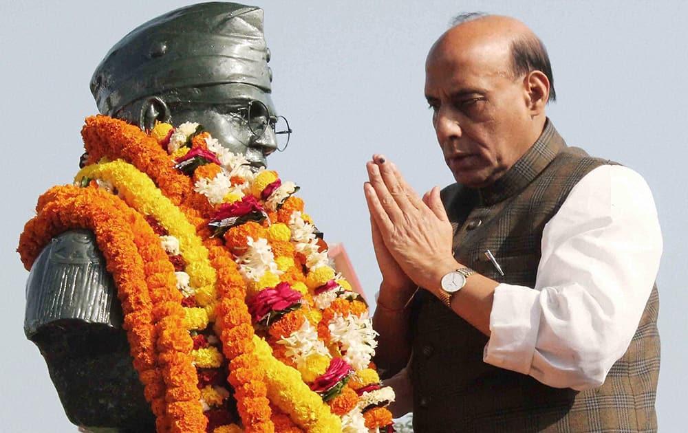 BJP president Rajnath Singh pays tribute to Netaji Subhash Chandra Bose on his birth anniversary in Cuttack.
