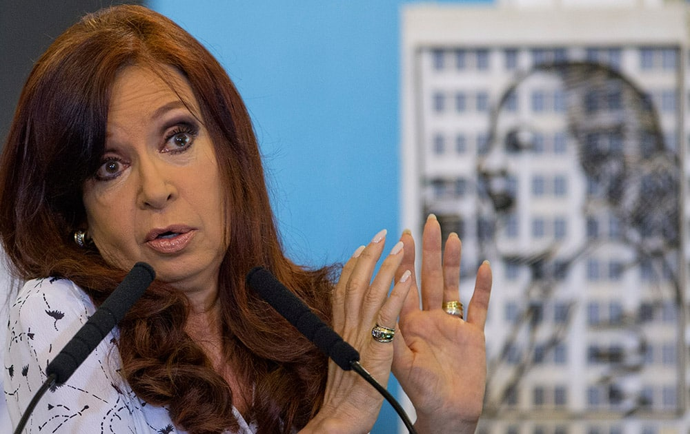 Argentina`s President Cristina Fernandez talks during a ceremony at the government house in Buenos Aires, Argentina.