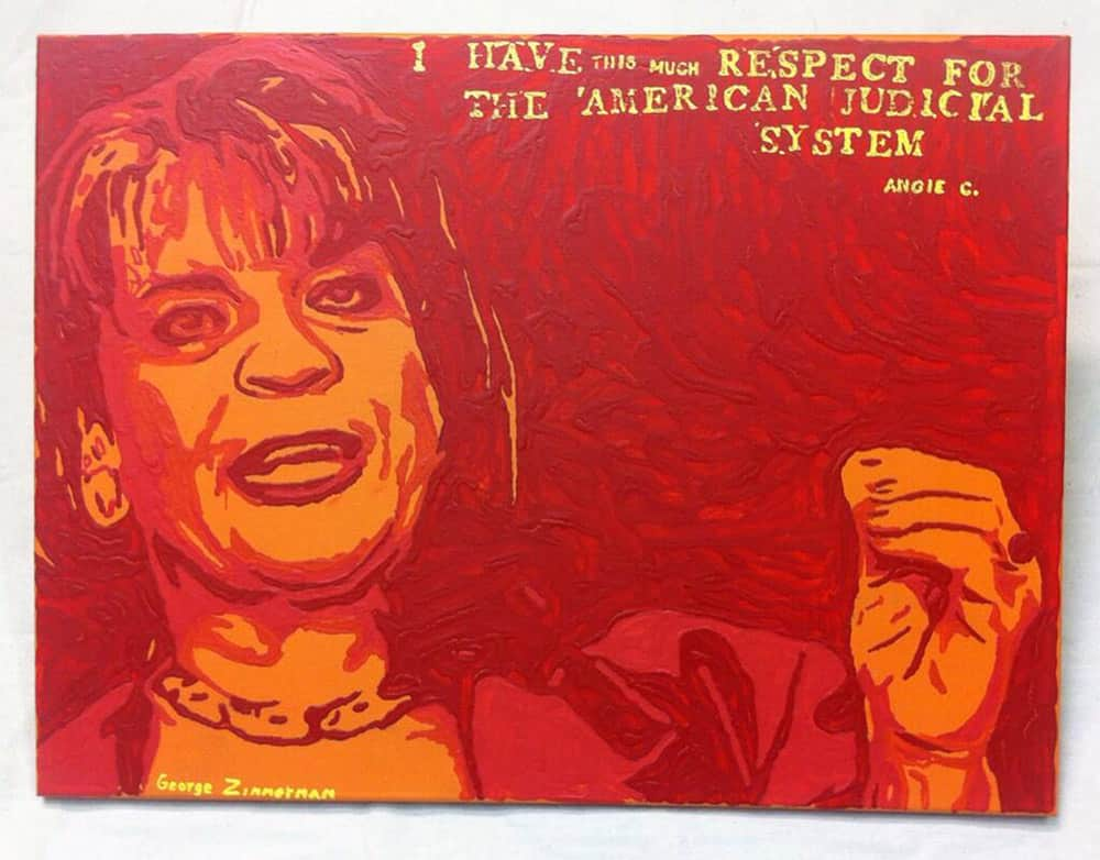 This photo provided by Robert Zimmerman Jr. shows a painting by his brother, George Zimmerman, portraying northeast Florida state attorney Angela Corey, the special prosecutor who charged him with second-degree murder in the 2012 shooting death of 17-year-old Trayvon Martin. Robert Zimmerman Jr. posted his brother`s new painting, titled `Angie`, on Twitter. He said details about its sale would follow Thursday.