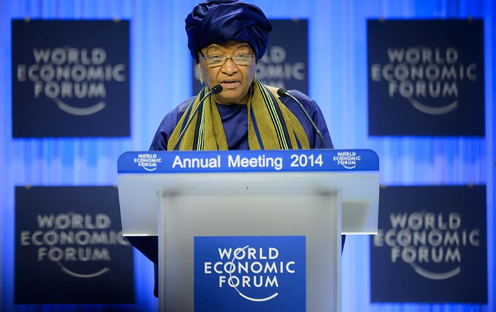 Liberia`s President Ellen Johnson Sirleaf speaks during a panel session on the first day of the 44. Annual Meeting of the World Economic Forum, WEF, in Davos, Switzerland.