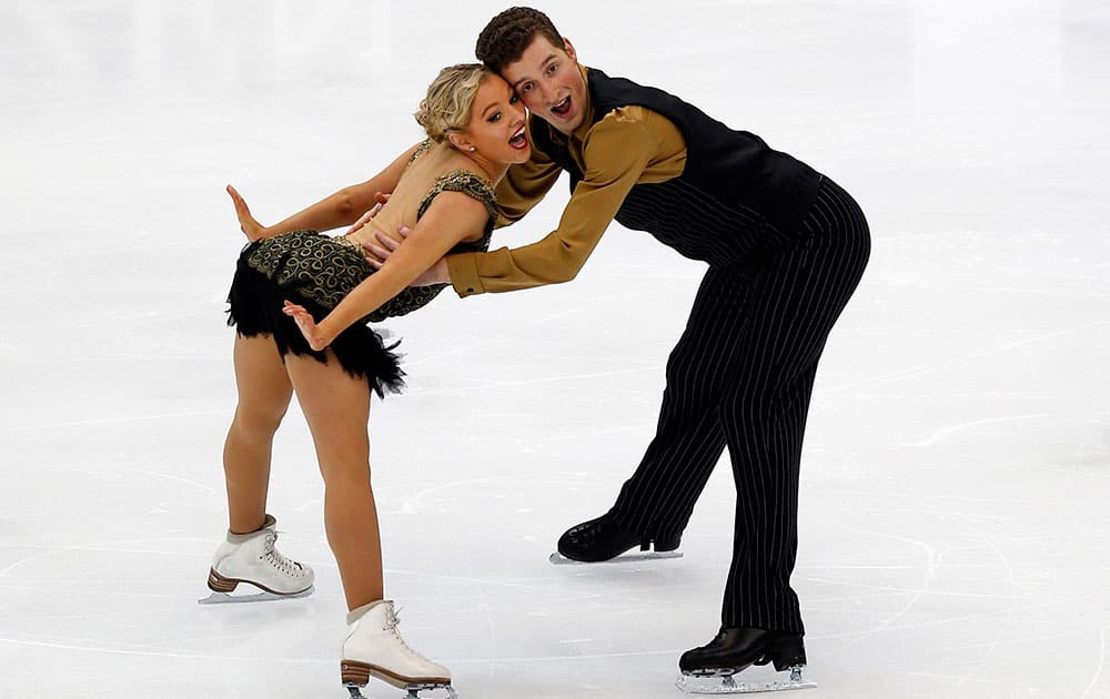 Australia`s Danielle Obrien and Gregory Merriman perform during the ice dance short dance of the ISU Four Continents Figure Skating Championships in Taipei, Taiwan.