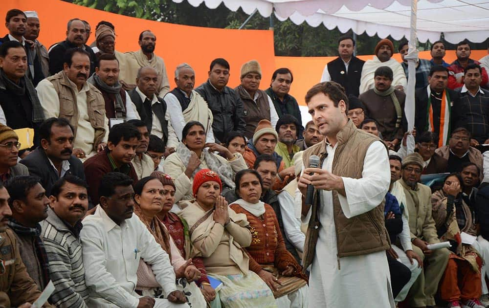 Congress Vice President Rahul Gandhi addressing party supporters in New Delhi.