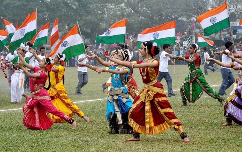 School students perform with Tricolours during inauguration of 59th U-17 School Football Tournament in Agartala.